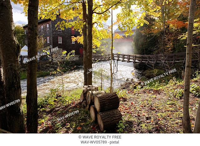 View of Ulverton Wool Mill, Eastern Townships, Quebec, Canada