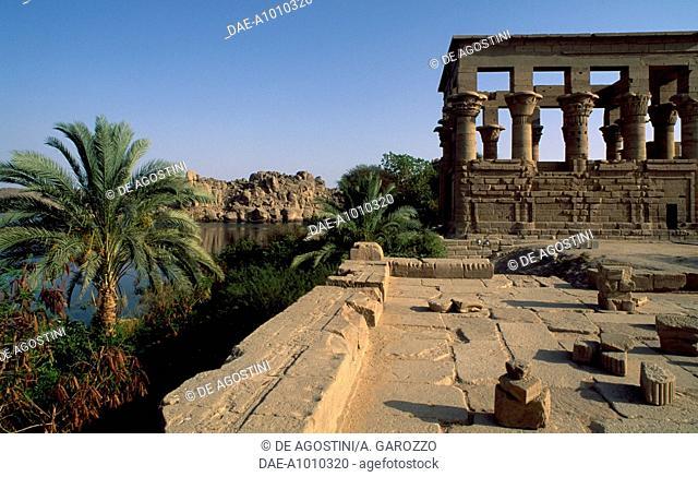 Trajan's Kiosk, Temple of Isis at Philae (Unesco World Heritage List, 1979), Agilkia Island, Aswan, Egypt. Egyptian civilisation