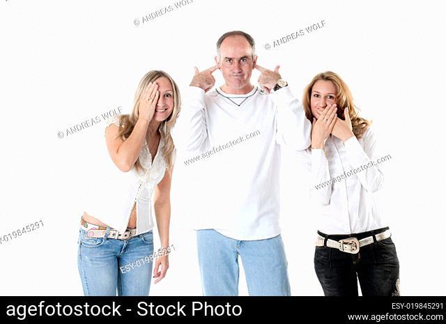 Familie gestikuliert