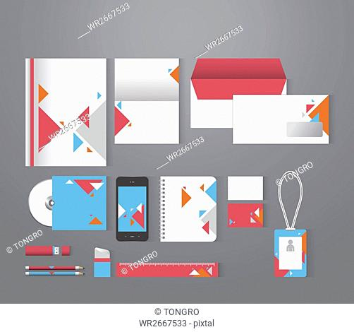 Set of various stationary with patterns of triangles