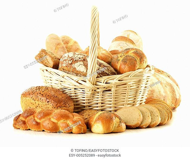 Composition with bread and rolls isolated on white