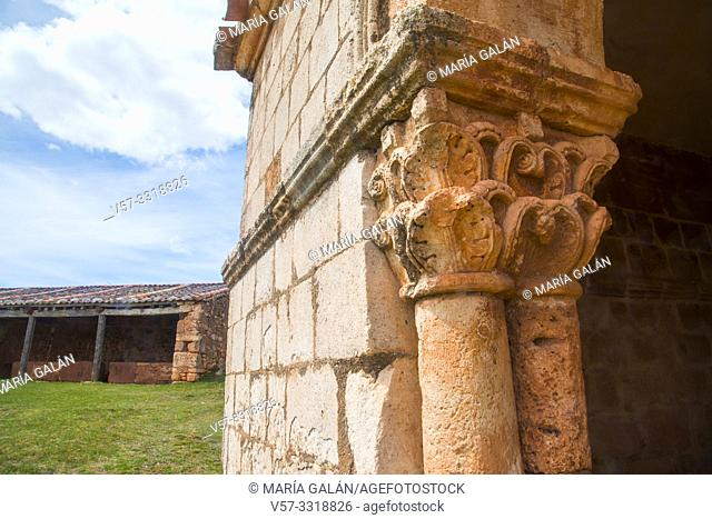 Capital. Romanesque church, Tiermes, Soria province, Castilla Leon, Spain