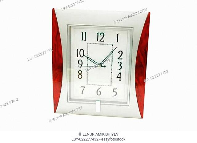 Square clock isolated on the white background