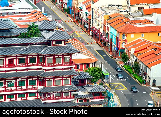 Aerial cityscape of Singapore Chinatown district with restaurants and hotels of traditional chinese architecture