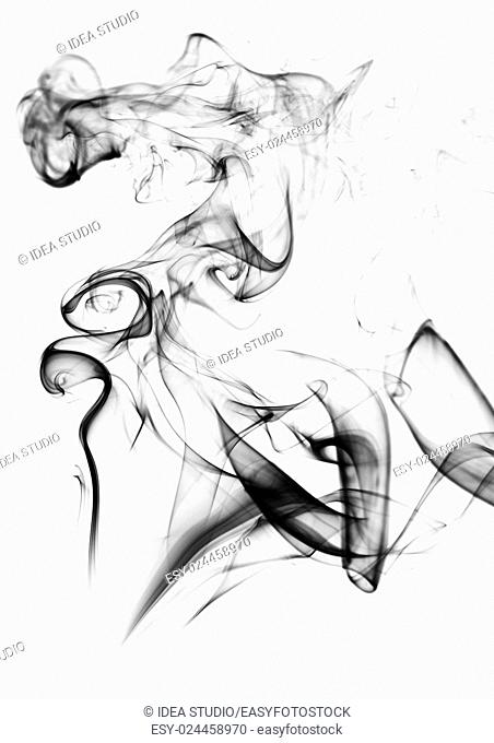 Smoke on white background abstract art texture fog