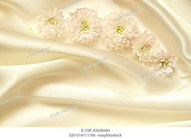 White chaotic draped fabric with flowers