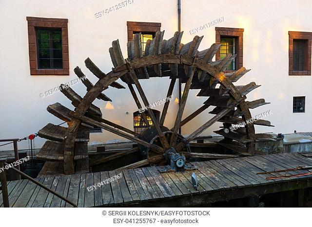 Wooden watermill on channel Certovka in Prague