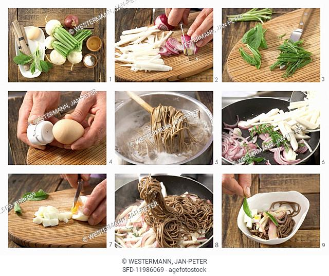 How to prepare soba noodles with May turnips, red onion and egg