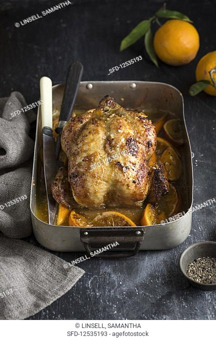 Roast chicken with oranges in a roasting pan