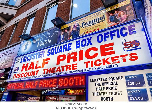England, London, Leicester Square, Discount Theatre Ticket Office