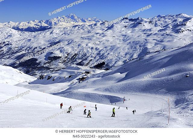 Monte Blanc 4810m, Panoramic View, Snow Scenery, Haute Savoie, Trois Vallees, Three Valleys, Ski Resort, France, Europe