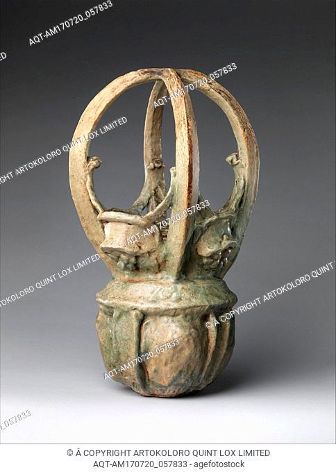 Basket vase, ca. 1900, French, Saint-Amand-en-Puisaye, Stoneware, 19 1/2 in., 15.9 lb. (49.5 cm, 7.2 kg), Ceramics-Pottery