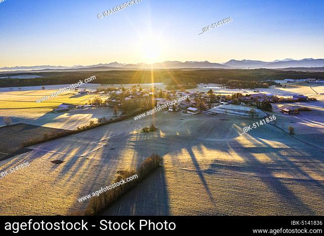 Sunrise, village of Lochen near Dietramszell, Alpine chain, drone shot, foothills of the Alps, Upper Bavaria, Bavaria, Germany, Europe