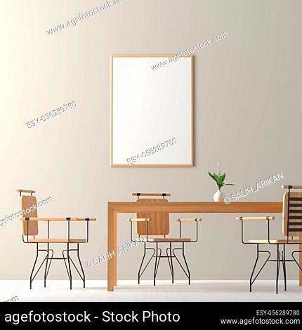 Spacious modern dining room with wooden chairs and table. Minimalist dining room design. 3D illustration