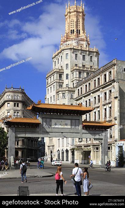 Cuba, Havana, Chinatown, gate, historic architecture, street scene,