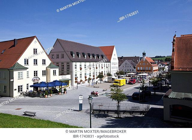 Market square of Ottobeuren, Upper Swabia, Lower Allgaeu, Bavaria, Germany, Europe