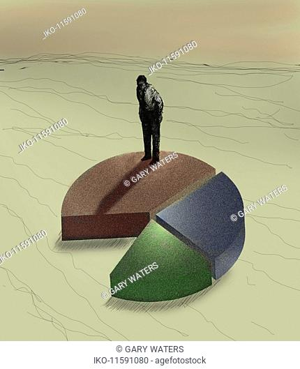 Businessman standing on top of pie chart looking at missing piece