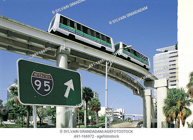 Miami metrorail and interstate 95 sign. Florida. USA