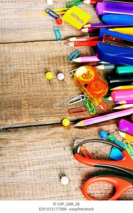 School tools. On wooden background