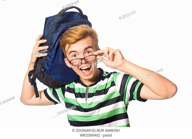 Funny student isolated on the white background