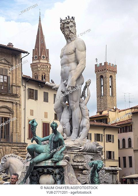 The Fountain of Neptune on the Piazza della Signoria, Florence, capital of Tuscany region, Italy