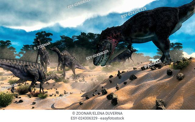 Saurolophus hunting tarbosaurus dinosaur - 3D render