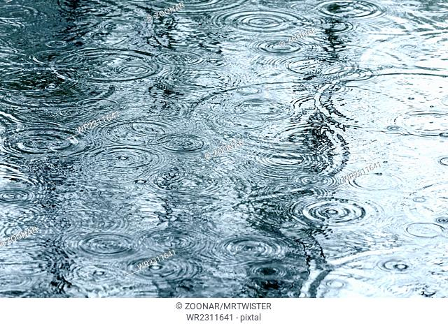 rain drops on the water surface