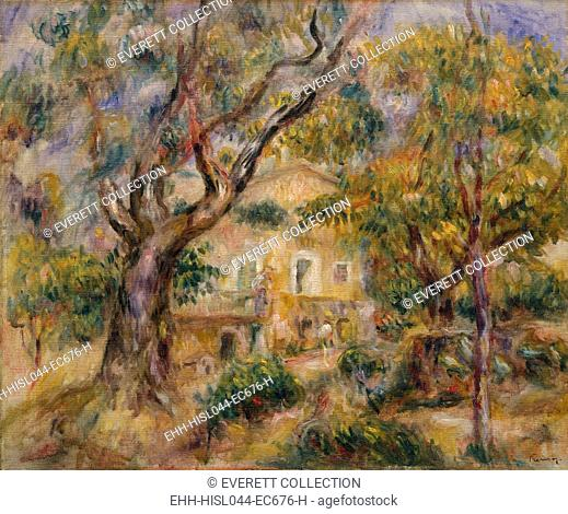 The Farm at Les Collettes, Cagnes, by Auguste Renoir, 1908–14, French impressionist oil painting. Renoir moved to the Mediterranean near Nice in 1907 and...