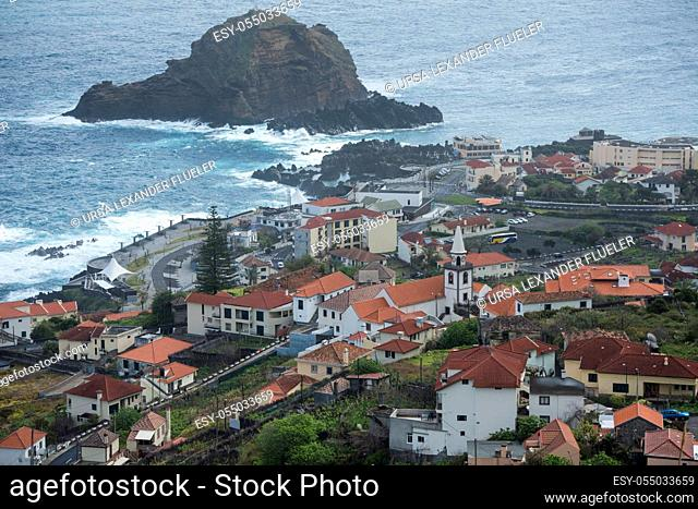 the Town of Porto Moniz on the Island of Madeira in the Atlantic Ocean of Portugal. Madeira, Porto Moniz, April, 2018