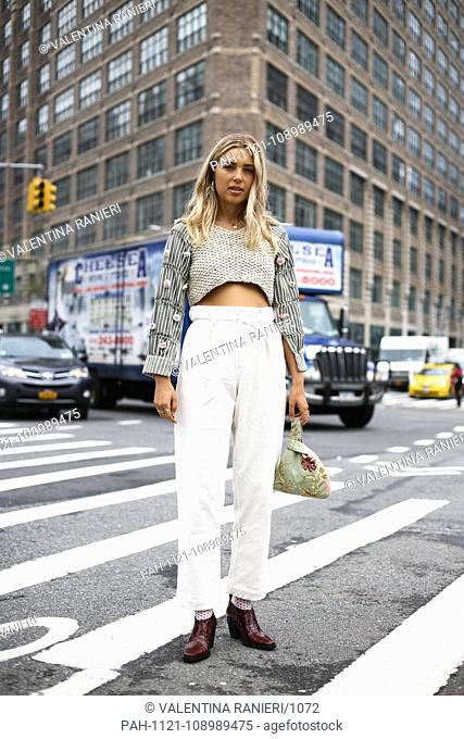 Aemilia Madden, Senior Fashion Editor at The Zoe Report, posing on the street during New York Fashion Week - Sept 11, 2018 - Photo: Runway Manhattan ***For...