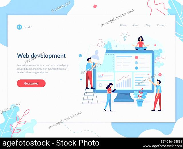 Web banner design template. Website development. The team of web developers constructs a personal user account or admin panel for the web site
