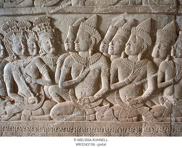 Wall carving, Angkor Wat, UNESCO World Heritage Site, near Siem Reap, Cambodia, Indochina, Southeast Asia, Asia