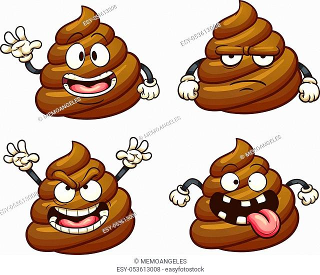 Cartoon poop character with different emotions. Vector clip art illustration with simple gradients. Each on a separate layer
