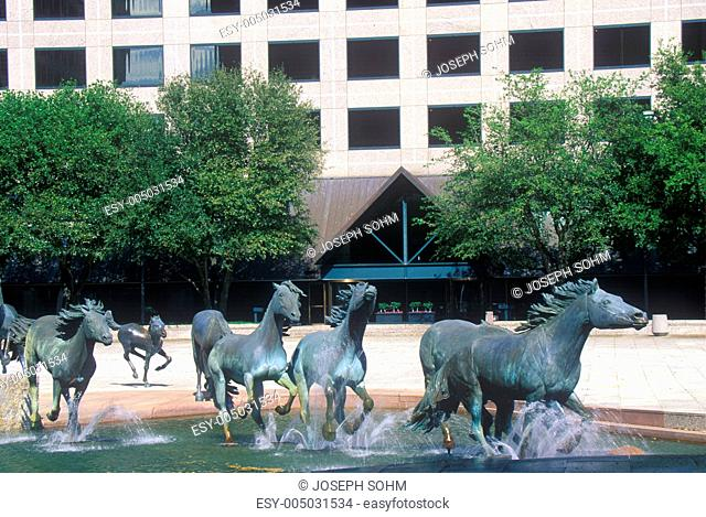 Mustangs of Los Colinas, in Williams Square, Los Colinas, TX, the worlds largest equestrian sculpture