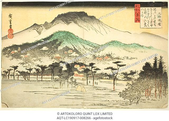 Evening Bell at Mii Temple (Mii bansho), from the series Eight Views of Omi (Omi hakkei no uchi), c. 1834, Utagawa Hiroshige ?? ??, Japanese, 1797-1858, Japan