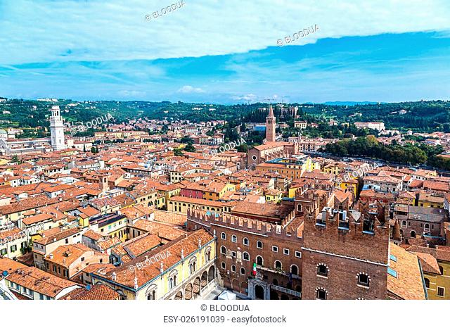 Aerial view of Verona in a summer day, Italy