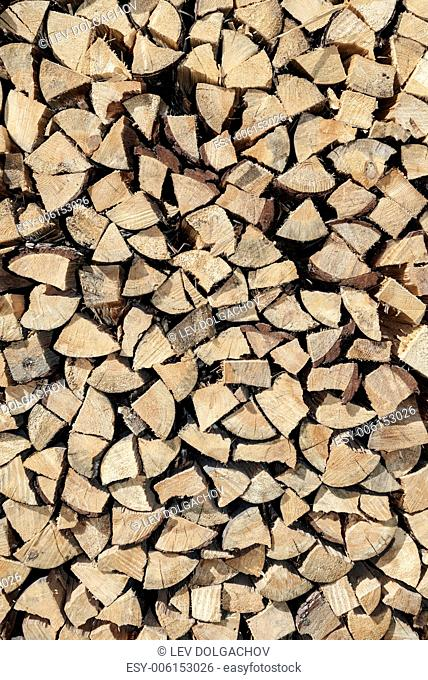 texture and background concept - stacked firewood