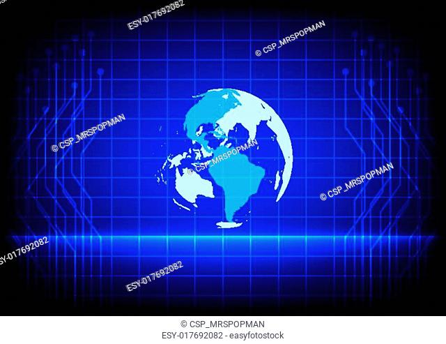 Abstract world digital technology electronic line blue background