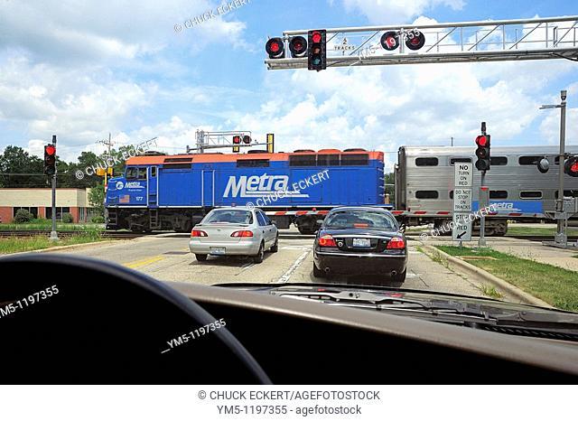 Railroad crossing in Chicago suburb of Fox River grove, Illinois