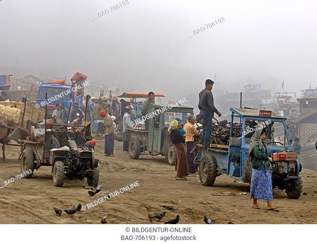 early morning at the ferry-station of Mandaly, Myanmar