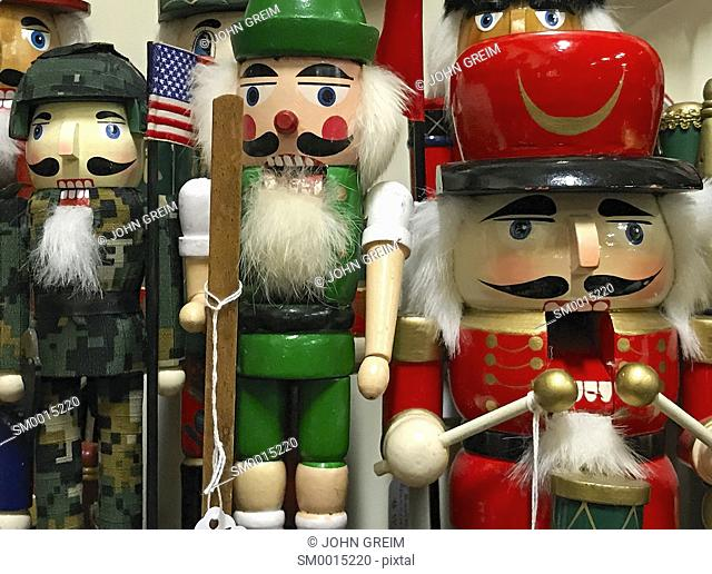 Christmas Nutcracker figurines in a holiday shop