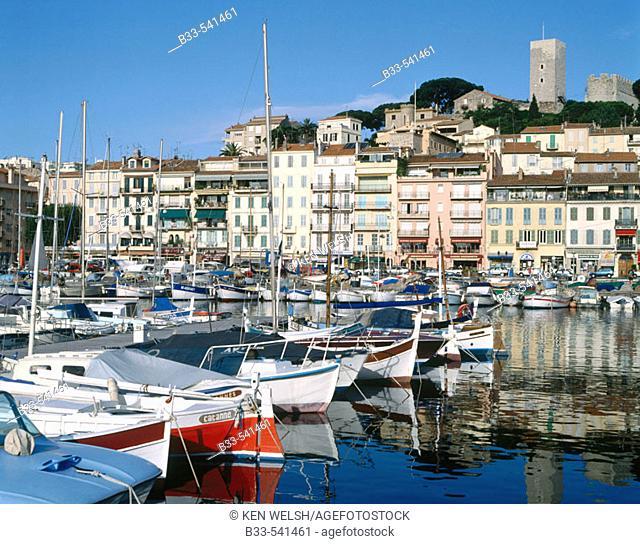 Cannes. Over Harbour to Le Suquet. French Riviera, Côte d'Azur. France