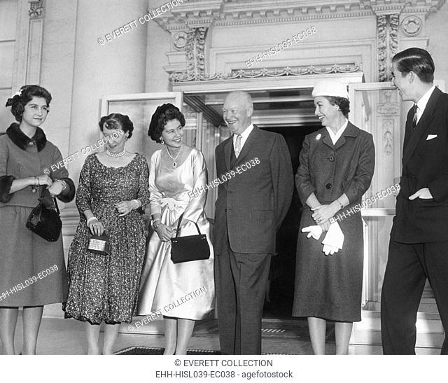 Queen Fredrika of the Hellenes (Greece) and two of her children visit the White House. L-R: Princess Sophie, Mamie Eisenhower, The President, Barbara Eisenhower