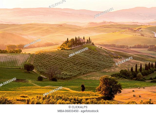 Belvedere Farmhouse at dawn, San Quirico d'Orcia, Orcia Valley, Siena province, Italy, Europe