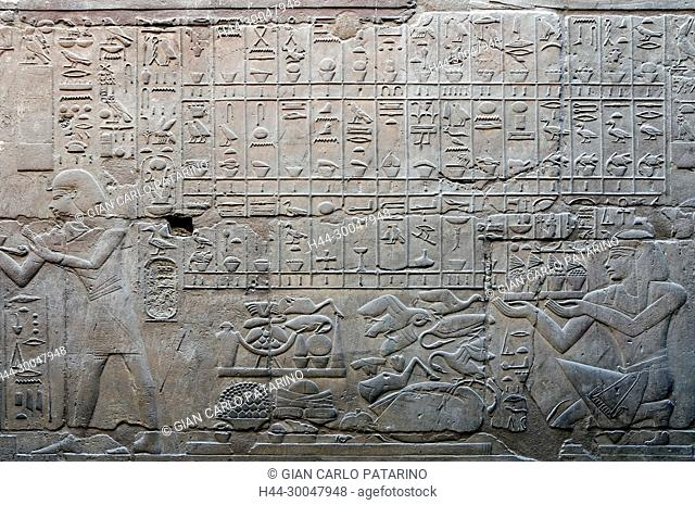 Luxor, Egypt. Temple of Luxor (Ipet resyt): hieroglyphs on a wall representing food and goods
