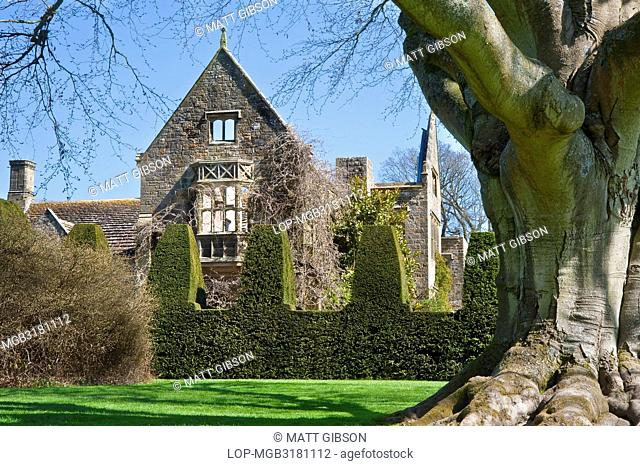 England, West Sussex, Handcross. The ruin of the Gothic mansion at Nymans in West Sussex. Nymans is an English garden developed by the Messel family in the late...