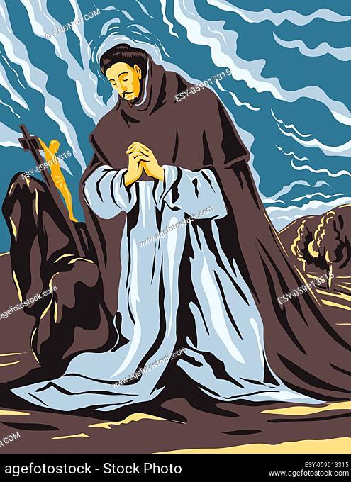 WPA Poster Art Interpretation of El Greco Domenikos Theotokopoulos Artwork, Saint Dominic in Prayer Circa 1605, 16th Century Spanish Renaissance Artist in Works...