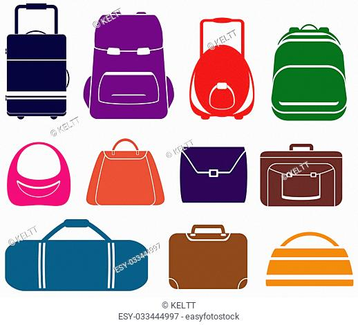 colorful set with isolated bag icons