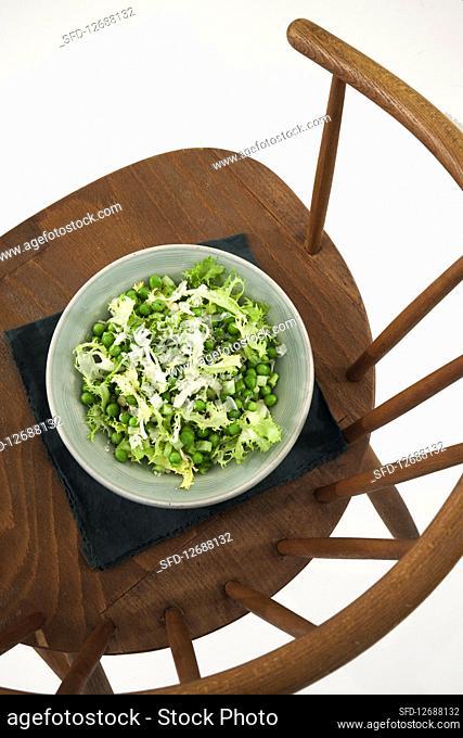 Peas and frisée lettuce