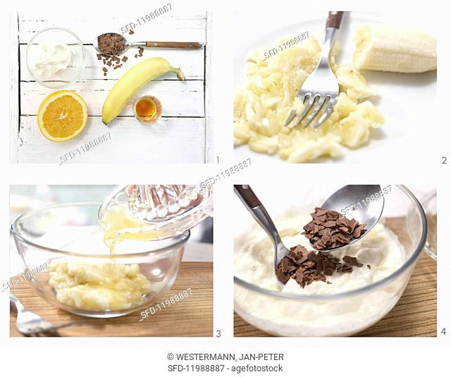 How to prepare cream cheese & banana cream with chocolate flakes